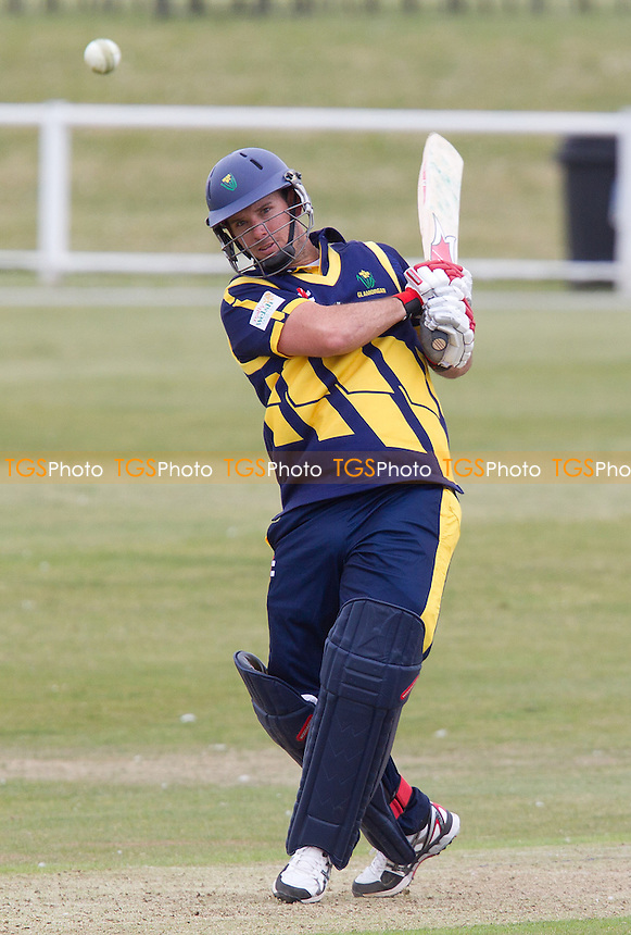 Jim Allenby, Glamorgan CCC pulls into the leg side and collects another boundary - Unicorns vs Glamorgan CCC - Yorkshire Bank YB40 Cricket at Garon Park, Southend-on-Sea - 09/06/13 - MANDATORY CREDIT: Ray Lawrence/TGSPHOTO - Self billing applies where appropriate - 0845 094 6026 - contact@tgsphoto.co.uk - NO UNPAID USE