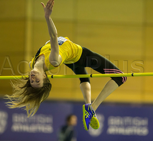 27.02.2016. EIS Sheffield, Sheffield, England. British Indoor Athletics Championships Day One. Nikki Manson (Giffnock North) competing in the Women's High Jump.