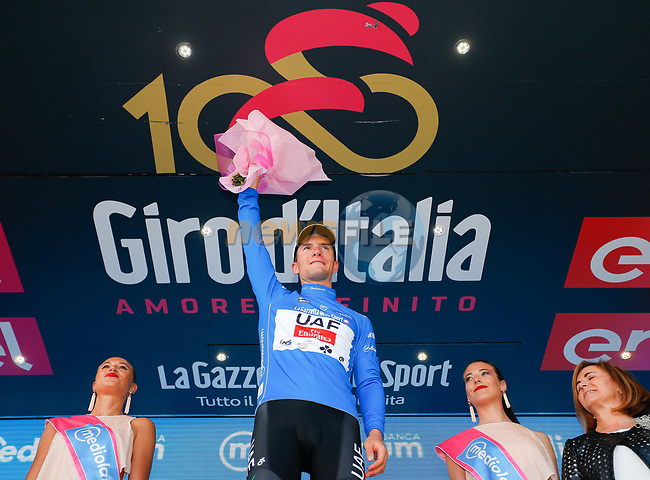 Jan Polanc (SLO) UAE Team Emitates retains the mountains  Maglia Azzura at the end of Stage 8 of the 100th edition of the Giro d'Italia 2017, running 189km from Molfetta to Peschici, Italy. 1th May 2017.<br /> Picture: LaPresse/Simone Spada | Cyclefile<br /> <br /> <br /> All photos usage must carry mandatory copyright credit (&copy; Cyclefile | LaPresse/Simone Spada)