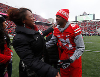 Ohio State Buckeyes fifth-year senior Jamie Wood was one of nineteen seniors recognized before Saturday's NCAA Division I football game against Indiana at Ohio Stadium in Columbus on November 23, 2013. (Barbara J. Perenic/The Columbus Dispatch)