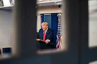 US President Donald J. Trump delivers remarks on the pandemic in the press briefing room of the White House in Washington, DC, USA, 22 March 2020. Efforts to contain the coronavirus COVID-19 pandemic have caused travel disruptions, sporting event cancellations, runs on cleaning supplies and food and other inconveniences.<br /> Credit: Jim LoScalzo / Pool via CNP/AdMedia