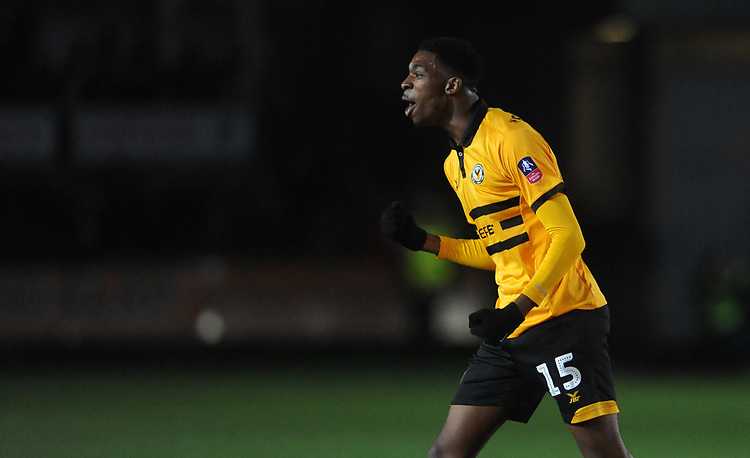 Newport County's Tyreeq Bakinson celebrates at the final whistle <br /> <br /> Photographer Ian Cook/CameraSport<br /> <br /> The Emirates FA Cup Third Round - Newport County v Leicester City - Sunday 6th January 2019 - Rodney Parade - Newport<br />  <br /> World Copyright &copy; 2019 CameraSport. All rights reserved. 43 Linden Ave. Countesthorpe. Leicester. England. LE8 5PG - Tel: +44 (0) 116 277 4147 - admin@camerasport.com - www.camerasport.com