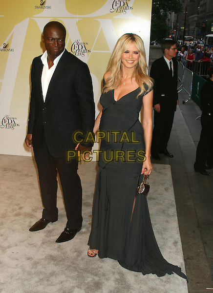 SEAL & HEIDI KLUM.2005 CFDA Fashion Awards - Inside Arrivals.New York Public Library in New York City, New York, USA, June 6th 2005 .full length black dress pregnant married husband wife couple holding hands slit split.Ref: IW.www.capitalpictures.com.sales@capitalpictures.com.©Ian Wilson/Capital Pictures.
