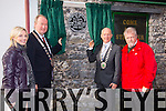 Tralee Mayor Jim Finucane and Mayor of Killarney Municipal Authority John Joe Culloty  unveiled the PLAQUE to commemorate where Monsignor Hugh O'Flaherty spent a period of his childhood years, on the site which is now The Huddle Bar on Saturday here with Linda Louth ( Huddle owner) Jerry O'Grady (Hugh O'Flaherty Memorial Society)