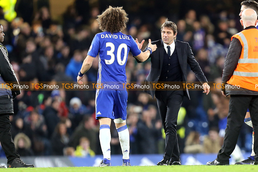 Chelsea manager Antonio Conte and David Luiz of Chelsea after Chelsea vs Stoke City, Premier League Football at Stamford Bridge on 31st December 2016