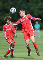 Finn Tapp, captain of MK Dons Under 18's heads the ball upfield. Finley Tapp is the winner of the Love Island Winter Series in February 2020 with Paige Turley during Gillingham Under-18 vs Milton Keynes Dons Under-18, EFL Youth Alliance Football at Beechings Cross, Gillingham FC Training Ground on 26th August 2017