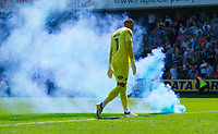 Smoke bomb during the Sky Bet Championship match between Millwall and Aston Villa at The Den, London, England on 6 May 2018. Photo by Andrew Aleksiejczuk / PRiME Media Images.