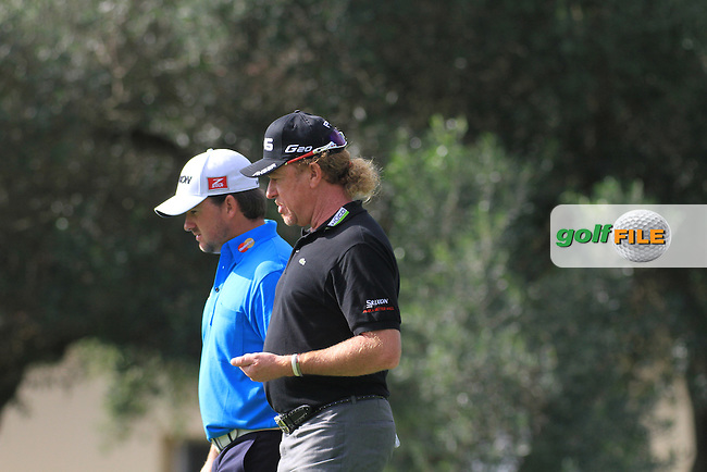 Graeme McDowell (NIR) and Miguel Angel Jimenez (ESP) during the 1st day at the  Andalucía Masters at Club de Golf Valderrama, Sotogrande, Spain. .Picture Fran Caffrey www.golffile.ie