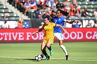 Carson, CA - Thursday August 03, 2017: Lisa De Vanna, Bruna Benites during a 2017 Tournament of Nations match between the women's national teams of Australia (AUS) and Brazil (BRA) at the StubHub Center.