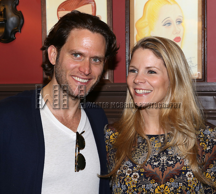 Steven Pasquale and Kelli O'Hara attend the Sardi's Caricature unveiling for Jason Robert Brown at Sardi's on May 14, 2014 in New York City.