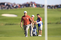 Alex Noren (Team Europe) on the 9th green during Saturday Foursomes at the Ryder Cup, Le Golf National, Ile-de-France, France. 29/09/2018.<br /> Picture Thos Caffrey / Golffile.ie<br /> <br /> All photo usage must carry mandatory copyright credit (&copy; Golffile | Thos Caffrey)