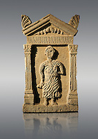 Second century Roman funerary stele dedicated to Anninia Laeta from the cemetery of Thuburbo Majus a city of the Roman province of Africa Proconsularis, in present day Tunisia. The Bardo National Museum , Tunis, Tunisia.   Against a grey background.