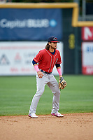 New Hampshire Fisher Cats shortstop Bo Bichette (5) during the first game of a doubleheader against the Harrisburg Senators on May 13, 2018 at FNB Field in Harrisburg, Pennsylvania.  New Hampshire defeated Harrisburg 6-1.  (Mike Janes/Four Seam Images)