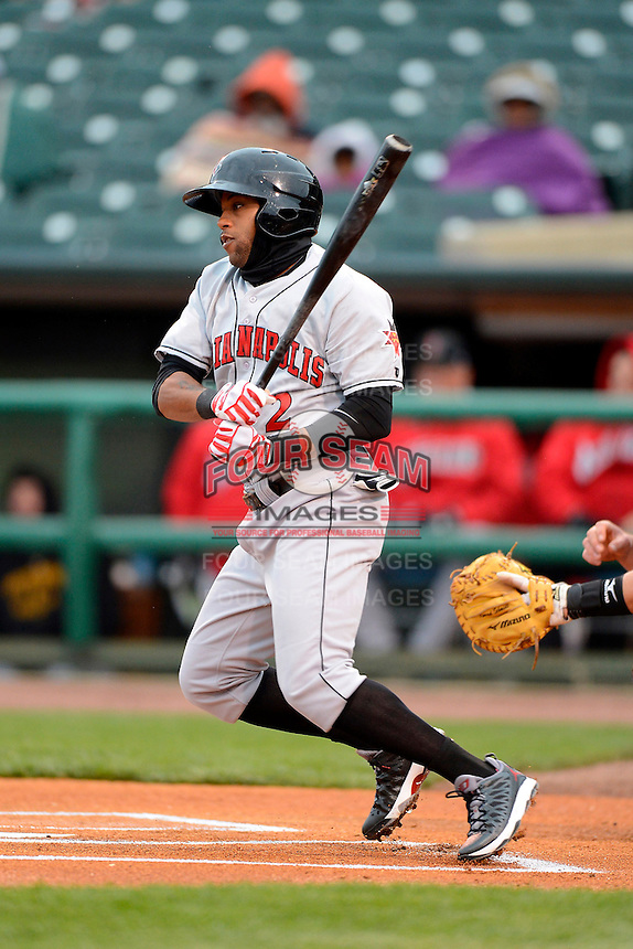 Indianapolis Indians outfielder Darren Ford #2 during a game against the Louisville Bats on April 19, 2013 at Louisville Slugger Field in Louisville, Kentucky.  Indianapolis defeated Louisville 4-1.  (Mike Janes/Four Seam Images)