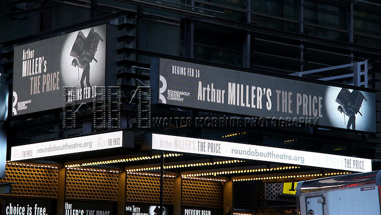 Theatre Marquee for the Roundabout Theater Company production of Arthur Miller's 'The Price' starring Mark Ruffalo, Tony Shalhoub, Jessica Hecht and Danny DeVito at The Roundabout Theatre Studios on January 19, 2017 in New York City.