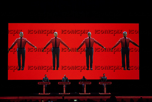 KRAFTWERK - (Ralf Hutter, Fritz Hilpert, Henning Schmitz, Falk Grieffenhagen_ -  performing Autobahn live in the Turbine Hall at the Tate Modern Museum in London Uk - 06 Feb 2013.  Photo credit: John Rahim/Music Pics Ltd/IconicPix