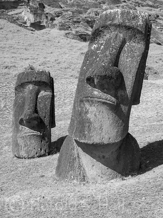 Easter Island is part of Chile.  It was named Easter Island as it was first discovered on Easter 1722.  This volcanic island  is one of the most remote in the world. Its native name is Rapa Nui. Tourists and cruise ships visit for the many moai oversized stone carvings of heads.  This particulat part of the island was the quarry for the heads, called Rano Raraku.