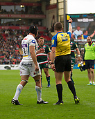 30th September 2017, Welford Road, Leicester, England; Aviva Premiership rugby, Leicester Tigers versus Exeter Chiefs;  Julian Salvi is shown a yellow card and is sin-binned for 10 minutes
