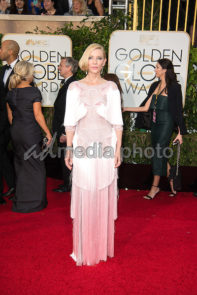 "Cate Blanchett, Golden Globe Nominee for BEST PERFORMANCE BY AN ACTRESS IN A MOTION PICTURE - DRAMA for ""Carol"", arrives at the 73rd Annual Golden Globe Awards at the Beverly Hilton in Beverly Hills, CA on Sunday, January 10, 2016. Photo Credit: HFPA/AdMedia"