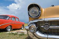 Classic American cars parked in Varadero, Matanzas, Cuba.