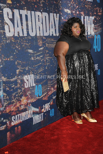 WWW.ACEPIXS.COM<br /> February 15, 2015 New York City<br /> <br /> Gabourey Sidibe walking the red carpet at the SNL 40th Anniversary Special at 30 Rockefeller Plaza on February 15, 2015 in New York City.<br /> <br /> Please byline: Kristin Callahan/AcePictures<br /> <br /> ACEPIXS.COM<br /> <br /> Tel: (646) 769 0430<br /> e-mail: info@acepixs.com<br /> web: http://www.acepixs.com