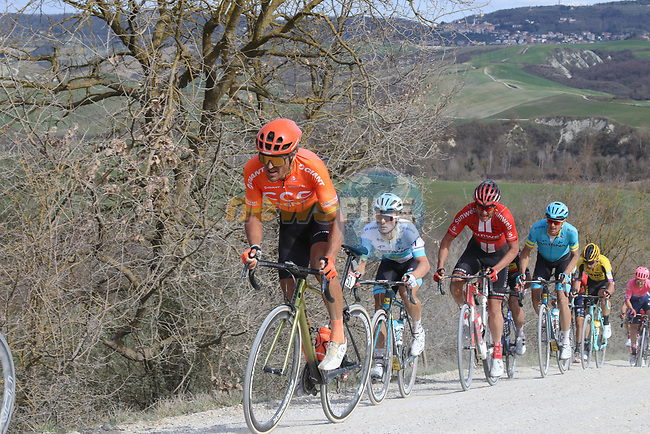 The peloton including Greg Van Avermaet (BEL) CCC Team and Alexey Lutsenko (KAZ) Astana Pro team give chase on sector 8 Monte Santa Maria during Strade Bianche 2019 running 184km from Siena to Siena, held over the white gravel roads of Tuscany, Italy. 9th March 2019.<br /> Picture: Seamus Yore | Cyclefile<br /> <br /> <br /> All photos usage must carry mandatory copyright credit (© Cyclefile | Seamus Yore)