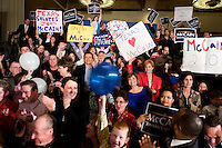 A cheering crowd for John McCain, U.S. senator from Arizona and 2008 Republican presidential candidate, during a Watch Party in Dallas, Texas, U.S., on Tuesday, March 4, 2008. McCain won the nomination for the Republican party on Tuesday. Photographer: Matt Nager/Bloomberg News
