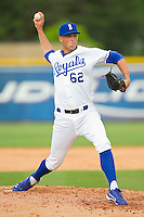 Burlington Royals relief pitcher Ben Tomchick (62) in action against the Greeneville Astros at Burlington Athletic Park on July 1, 2013 in Burlington, North Carolina.  The Astros defeated the Royals 7-0 in Game One of a doubleheader.  (Brian Westerholt/Four Seam Images)
