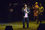 Singer  Al B Sure along with several local performers at the Vegas Cares fundraiser at the Venetian Theater Las Vegas rings in 2018 with fireworks from the top of the Stratosphere