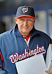11 April 2012: Washington Nationals bench coach Randy Knorr returns to the clubhouse after a game against the New York Mets at Citi Field in Flushing, New York. The Nationals shut out the Mets 4-0 to take the rubber match of their 3-game series. Mandatory Credit: Ed Wolfstein Photo