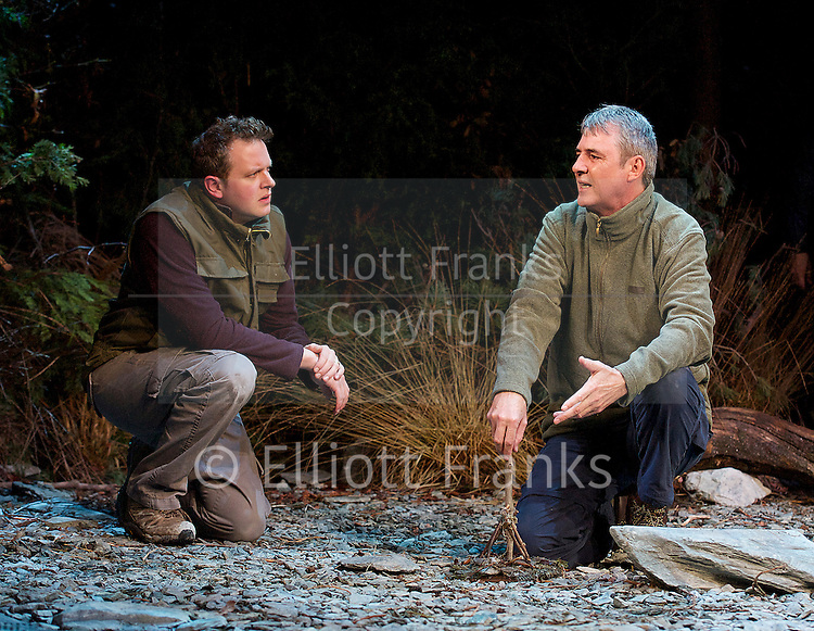 Neville's Island <br /> by Tim Firth <br /> at Duke of York's Theatre, London, Great Britain <br /> 17th October 2014 <br /> press photocall<br /> <br /> <br /> <br /> Miles Jupp as Angus<br /> <br /> Neil Morrissey as Neville<br /> <br /> <br /> <br /> <br /> <br /> <br /> <br /> Photograph by Elliott Franks <br /> Image licensed to Elliott Franks Photography Services