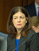 United States Senator Senator Kelly Ayotte (Republican of New Hampshire) listens as Army General Curtis M. Scaparrotti and United States Air Force General Lori J. Robinson testify before the US Senate Committee on Armed Services during their confirmation hearing on Capitol Hill in Washington, DC on Thursday, April 21, 2016.<br /> Credit: Ron Sachs / CNP