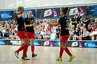 Canterbury's Serena Patel celebrates the second goal. 2019 Women's Futsal SuperLeague tournament final between Canterbury United Pride and Capital Futsal at ASB Sports Centre in Wellington, New Zealand on Sunday, 17 February 2019. Photo: Dave Lintott / lintottphoto.co.nz