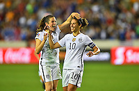 Houston, TX. - February 19, 2016: The U.S. Women's National team take a 3-0 lead over Trinidad & Tobago during first half action in CONCACAF Women's Olympic Qualifying at BBVA Compass Stadium.