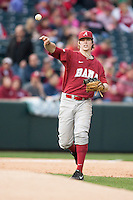 Alabama Crimson Tide infielder Chance Vincent (12) throws to first base at Baum Stadium during the NCAA baseball game against the Arkansas Razorbacks on March 21, 2014 in Fayetteville, Arkansas.  The Alabama Crimson Tide defeated the Arkansas Razorbacks 17-9.  (William Purnell/Four Seam Images)