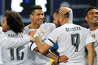 Real Madrid´s Cristiano Ronaldo and Benzema celebrating goal to Benzema