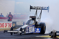 Aug. 31, 2013; Clermont, IN, USA: NHRA top fuel dragster driver Antron Brown during qualifying for the US Nationals at Lucas Oil Raceway. Mandatory Credit: Mark J. Rebilas-
