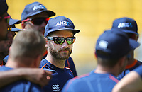 Blackcaps Kane Williamson speaks to the players during the third ODI cricket match between the Blackcaps & England at Westpac stadium, Wellington. 3rd March 2018. © Copyright Photo: Grant Down / www.photosport.nz