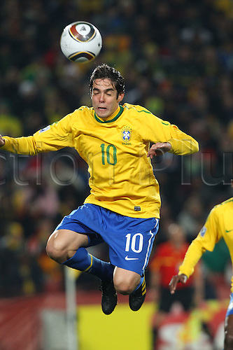 JUNE 28, 2010 - Football : 2010 FIFA World Cup South Africa Round of 16 between Brazil 3-0 Chile at Ellis Park Stadium, Johannesburg, South Africa. Kaka (BRA) has a headed shot on goal.