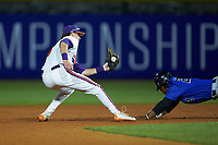 Jalen Phillips (22) of the Duke Blue Devils dives into second base while Logan Davidson (8) of the Clemson Tigers attempts the tag in Game Three of the 2017 ACC Baseball Championship at Louisville Slugger Field on May 23, 2017 in Louisville, Kentucky. The Blue Devils defeated the Tigers 6-3. (Brian Westerholt/Four Seam Images)