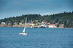 A sailboat glides past the ferry landing at Orcas Island, San Juan Islands, Washington