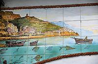 Europe/Italie/Côte Amalfitaine/Campagnie/Amalfi : Céramique représentant Amalfi sur les murs d'une poissonnerie
