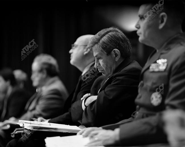 Deputry Secretary of Defense Paul Wolfowitz waits to speak at the Senate Appropriations Committee regarding the war in Iraq, Washington DC., USA, March 27, 2003