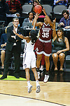 DALLAS, TX - MARCH 31: Victoria Vivians #35 of the Mississippi State Lady Bulldogs attempts a three-point shot over Crystal Dangerfield #5 of the Connecticut Huskies during the 2017 Women's Final Four at American Airlines Center on March 31, 2017 in Dallas, Texas. (Photo by Tim Nwachukwu/NCAA Photos via Getty Images)