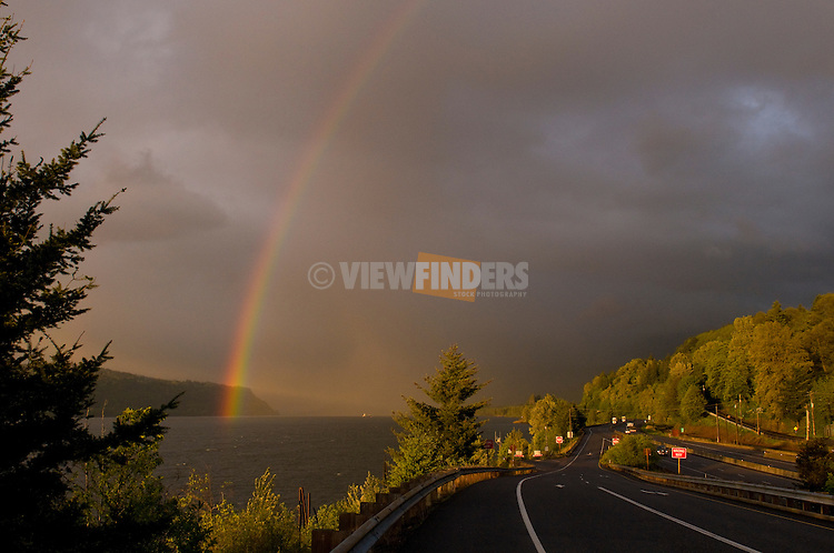 Rainbow Arching Over the Columbia River, Oregon