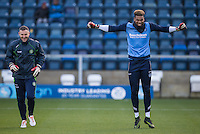 Goalkeeper Jamal Blackman of Wycombe Wanderers & Goalkeeper / Coach Barry Richardson of Wycombe Wanderers warm up during the Sky Bet League 2 match between Wycombe Wanderers and Hartlepool United at Adams Park, High Wycombe, England on 26 November 2016. Photo by Andy Rowland / PRiME Media Images.