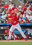 24 February 2019: St. Louis Cardinals first baseman Paul Goldschmidt at bat during a Spring Training game against the Washington Nationals at Roger Dean Stadium in Jupiter, Florida. The Cardinals fell to the Nationals 12-2 in Grapefruit League play. Mandatory Credit: Ed Wolfstein Photo *** RAW (NEF) Image File Available ***