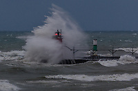 Autumn storm on South Haven Lighthouse sequence image 2
