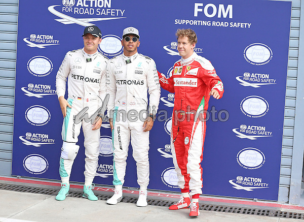 03 September 2016 - Monza - Nico Rosberg, Lewis Hamilton, Sebastian Vettel, Scuderia Ferrari, Formula 1 GP. Photo Credit: Melzer/face to face/AdMedia