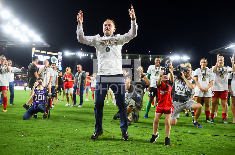 Orlando, FL - Saturday October 14, 2017: Mark Parsons and the Portland Thorns FC celebrate their National Women's Soccer League (NWSL) Championship win by defeating North Carolina Courage 1-0 during the NWSL Championship match between the North Carolina Courage and the Portland Thorns FC at Orlando City Stadium.
